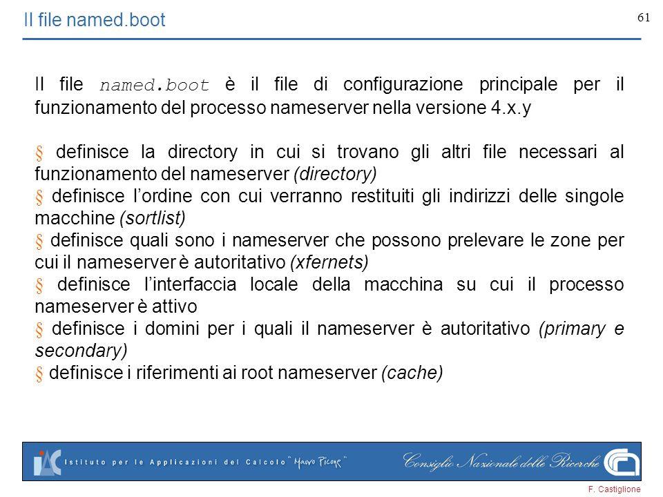 F. Castiglione 61 Il file named.boot Il file named.boot è il file di configurazione principale per il funzionamento del processo nameserver nella vers