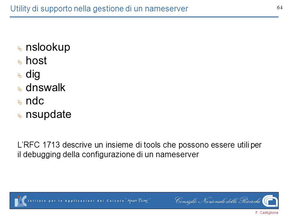 F. Castiglione 64 Utility di supporto nella gestione di un nameserver nslookup host dig dnswalk ndc nsupdate LRFC 1713 descrive un insieme di tools ch