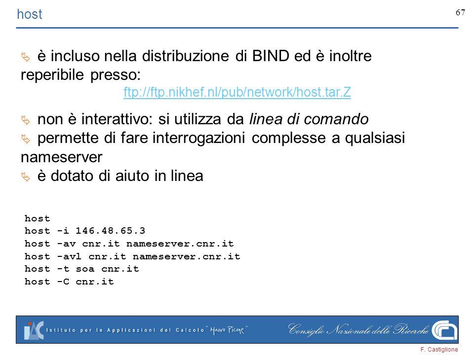 F. Castiglione 67 host è incluso nella distribuzione di BIND ed è inoltre reperibile presso: ftp://ftp.nikhef.nl/pub/network/host.tar.Z non è interatt