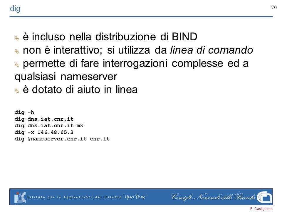 F. Castiglione 70 dig è incluso nella distribuzione di BIND non è interattivo; si utilizza da linea di comando permette di fare interrogazioni comples