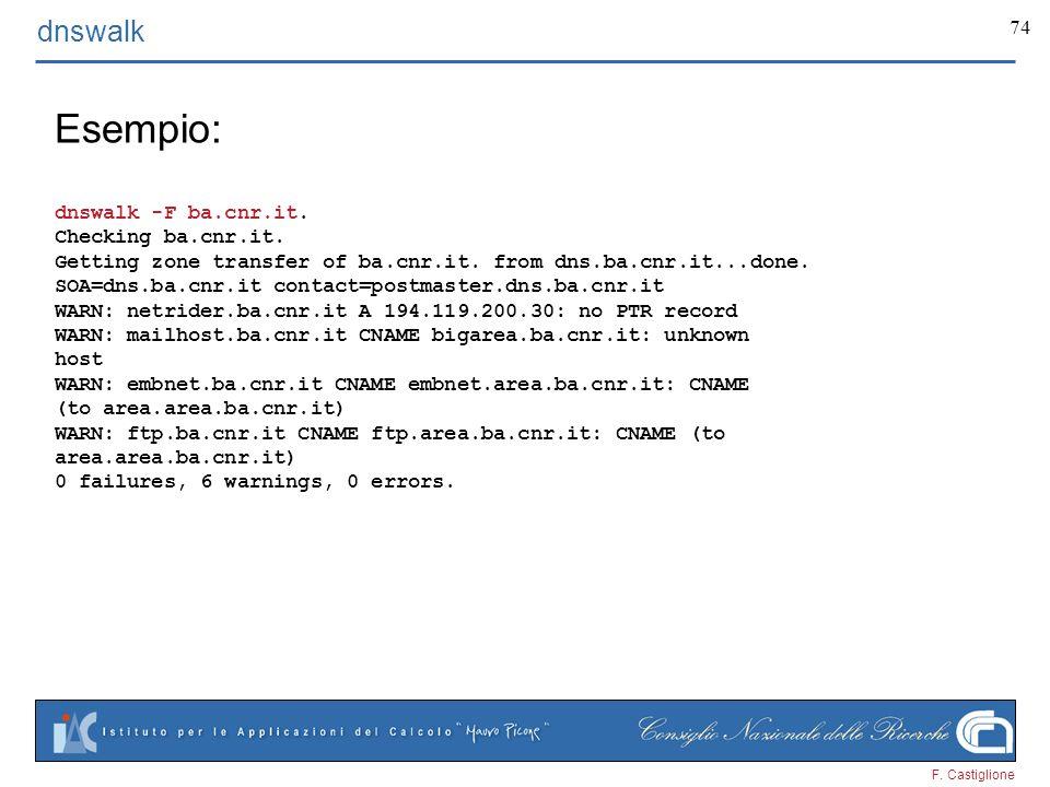 F. Castiglione 74 dnswalk Esempio: dnswalk -F ba.cnr.it. Checking ba.cnr.it. Getting zone transfer of ba.cnr.it. from dns.ba.cnr.it...done. SOA=dns.ba