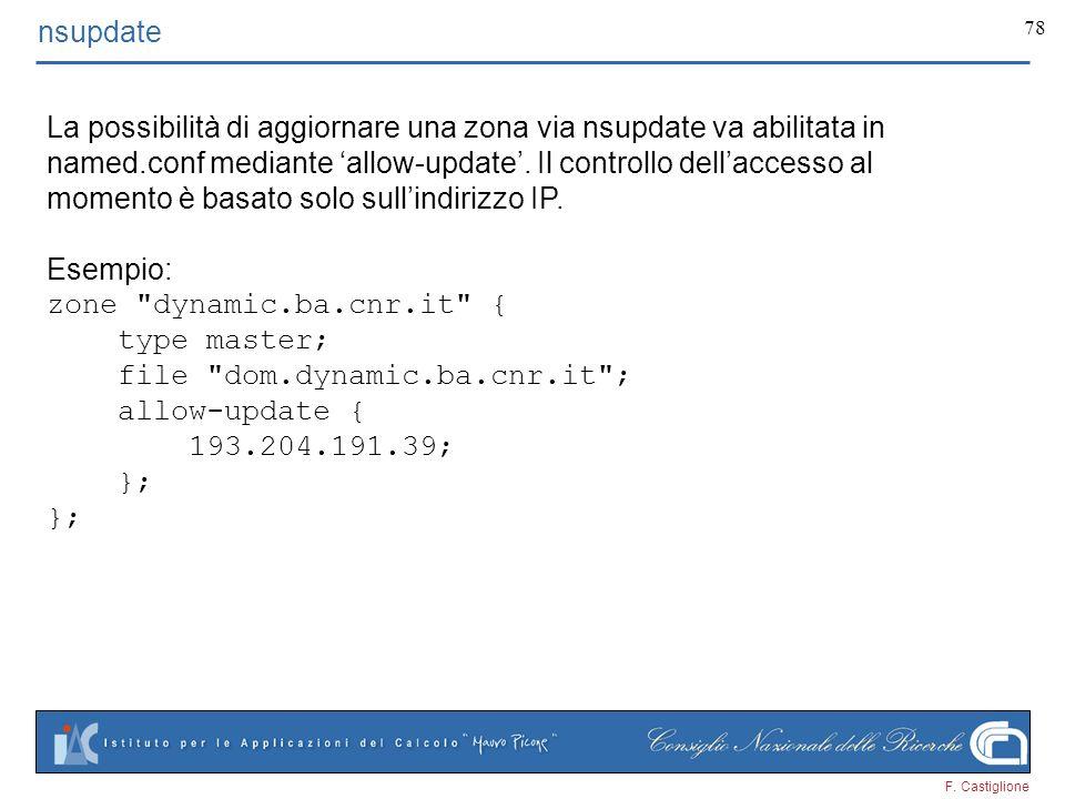 F. Castiglione 78 nsupdate La possibilità di aggiornare una zona via nsupdate va abilitata in named.conf mediante allow-update. Il controllo dellacces