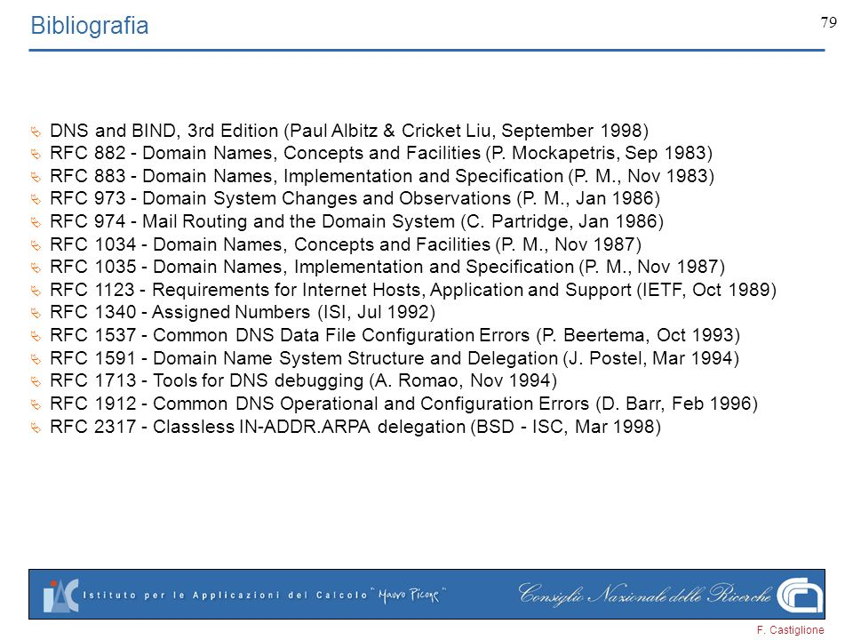 F. Castiglione 79 Bibliografia DNS and BIND, 3rd Edition (Paul Albitz & Cricket Liu, September 1998) RFC 882 - Domain Names, Concepts and Facilities (