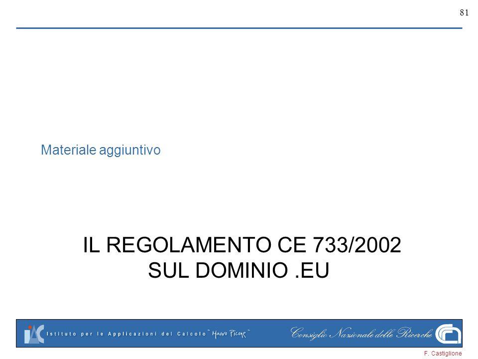 F. Castiglione 81 Materiale aggiuntivo IL REGOLAMENTO CE 733/2002 SUL DOMINIO.EU