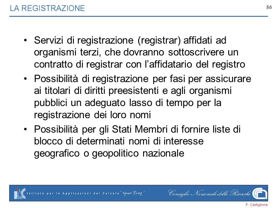F. Castiglione 86 LA REGISTRAZIONE Servizi di registrazione (registrar) affidati ad organismi terzi, che dovranno sottoscrivere un contratto di regist