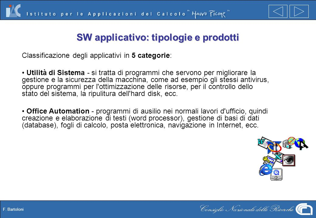 F. Bartoloni SW applicativo: tipologie e prodotti Classificazione degli applicativi in 5 categorie: Utilità di Sistema - si tratta di programmi che se
