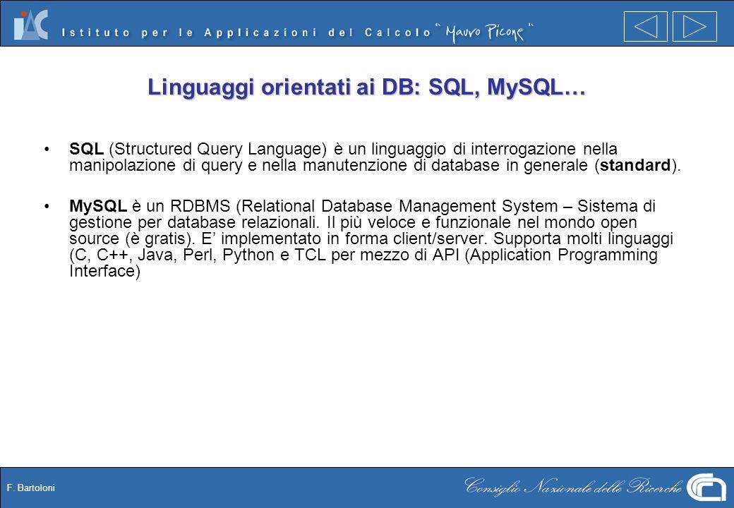 F. Bartoloni Linguaggi orientati ai DB: SQL, MySQL… SQL (Structured Query Language) è un linguaggio di interrogazione nella manipolazione di query e n