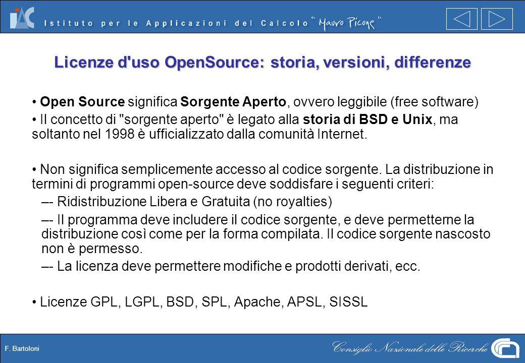 F. Bartoloni Licenze d'uso OpenSource: storia, versioni, differenze Open Source significa Sorgente Aperto, ovvero leggibile (free software) Il concett