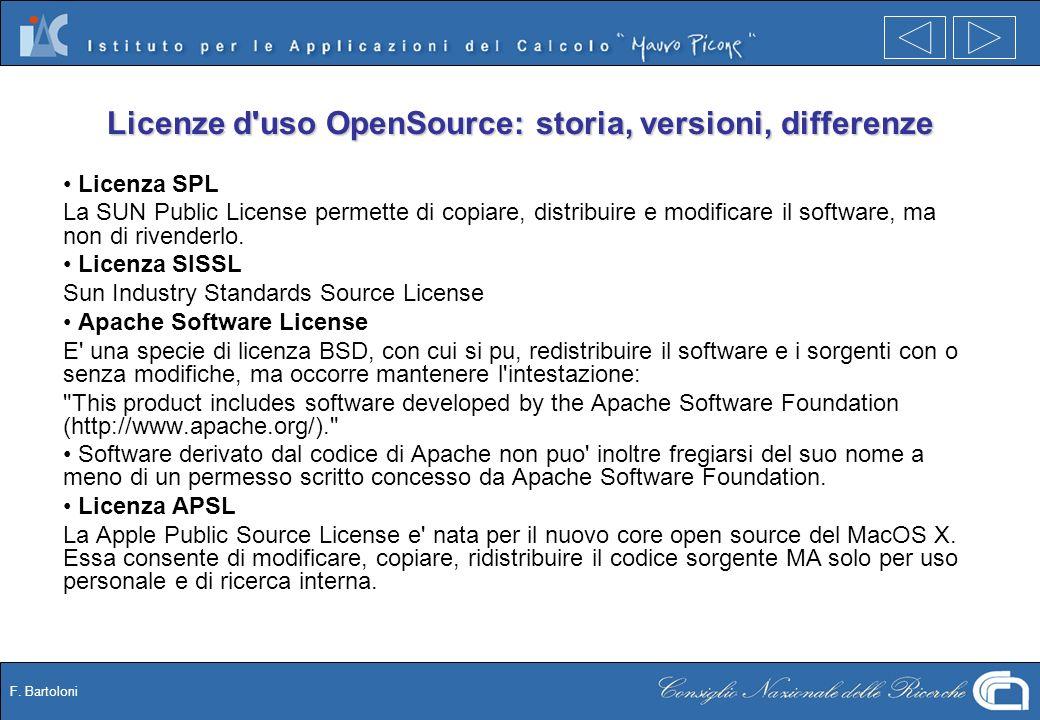 F. Bartoloni Licenze d'uso OpenSource: storia, versioni, differenze Licenza SPL La SUN Public License permette di copiare, distribuire e modificare il