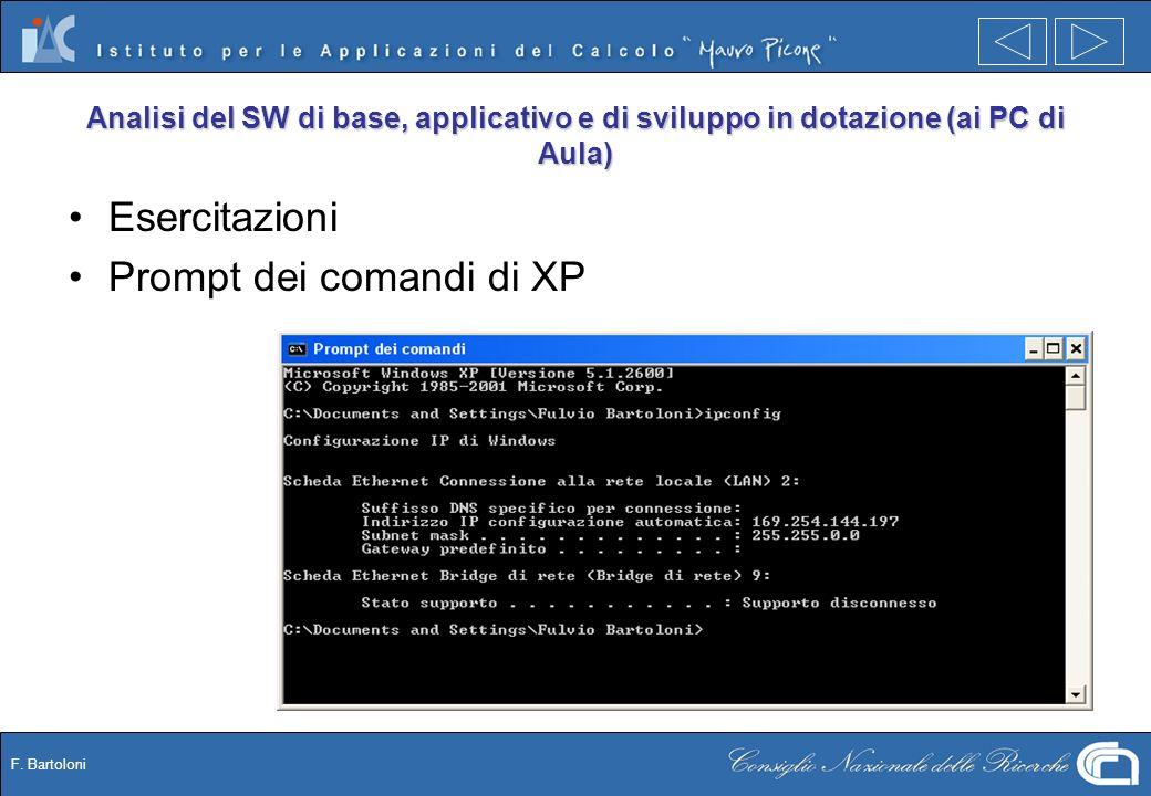 F. Bartoloni Analisi del SW di base, applicativo e di sviluppo in dotazione (ai PC di Aula) Esercitazioni Prompt dei comandi di XP
