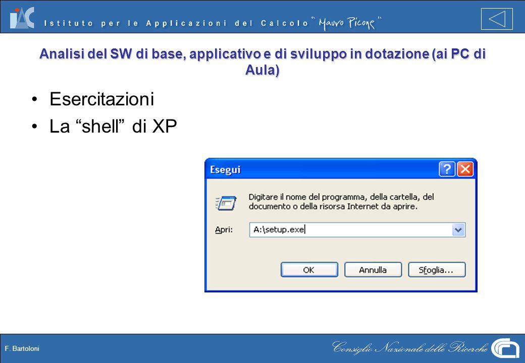 F. Bartoloni Analisi del SW di base, applicativo e di sviluppo in dotazione (ai PC di Aula) Esercitazioni La shell di XP