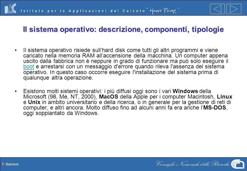 F. Bartoloni Il sistema operativo: descrizione, componenti, tipologie Il sistema operativo risiede sullhard disk come tutti gli altri programmi e vien