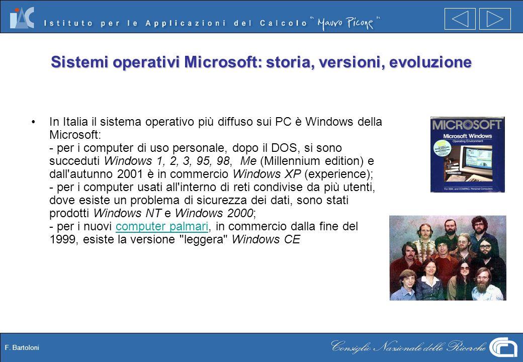 F. Bartoloni Sistemi operativi Microsoft: storia, versioni, evoluzione In Italia il sistema operativo più diffuso sui PC è Windows della Microsoft: -