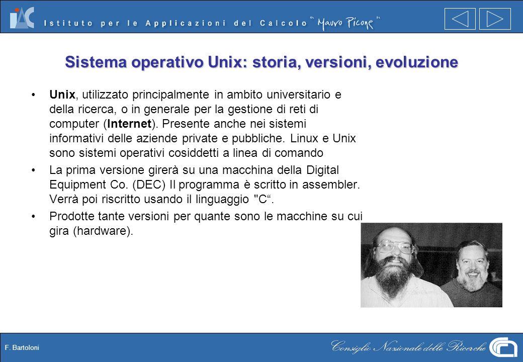 F. Bartoloni Sistema operativo Unix: storia, versioni, evoluzione Unix, utilizzato principalmente in ambito universitario e della ricerca, o in genera