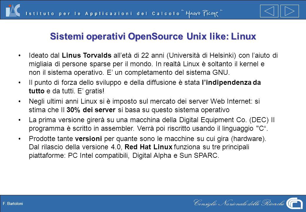F. Bartoloni Sistemi operativi OpenSource Unix like: Linux Ideato dal Linus Torvalds alletà di 22 anni (Università di Helsinki) con laiuto di migliaia