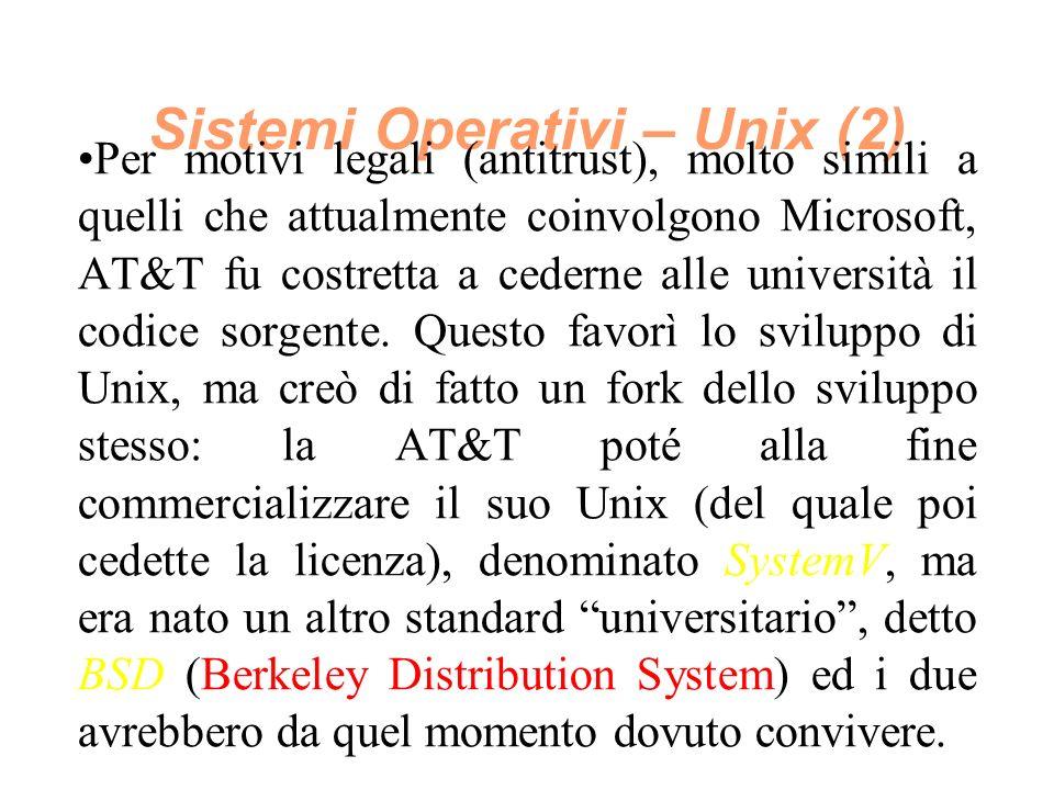Sistemi Operativi – Unix (2) Per motivi legali (antitrust), molto simili a quelli che attualmente coinvolgono Microsoft, AT&T fu costretta a cederne alle università il codice sorgente.