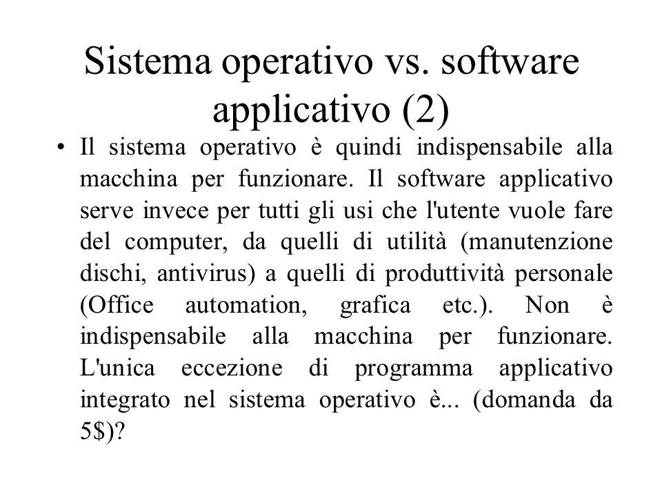 Sistemi Operativi – avvio (1) Quando si avvia il computer, quindi, il BIOS controlla l hardware, cerca un disco di avvio (sul quale il s.o.