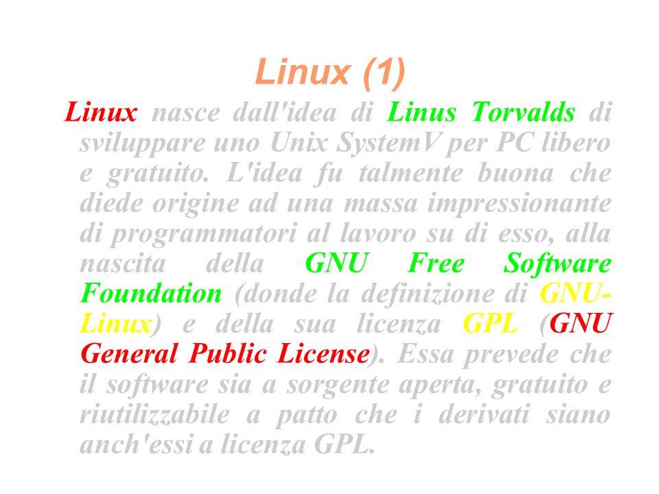 Linux (1) Linux nasce dall idea di Linus Torvalds di sviluppare uno Unix SystemV per PC libero e gratuito.