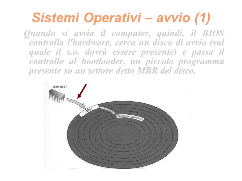 Sistemi Operativi – avvio (2) Il bootloader provvede a caricare in RAM il sistema operativo, del quale conosce la posizione (settore di boot di una partizione), o un successivo bootloader che la conosce e compie l operazione al posto suo.