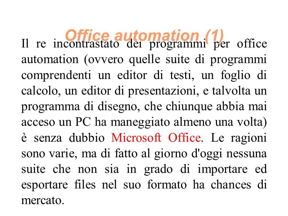 Il re incontrastato dei programmi per office automation (ovvero quelle suite di programmi comprendenti un editor di testi, un foglio di calcolo, un editor di presentazioni, e talvolta un programma di disegno, che chiunque abbia mai acceso un PC ha maneggiato almeno una volta) è senza dubbio Microsoft Office.