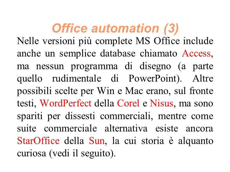 Nelle versioni più complete MS Office include anche un semplice database chiamato Access, ma nessun programma di disegno (a parte quello rudimentale di PowerPoint).