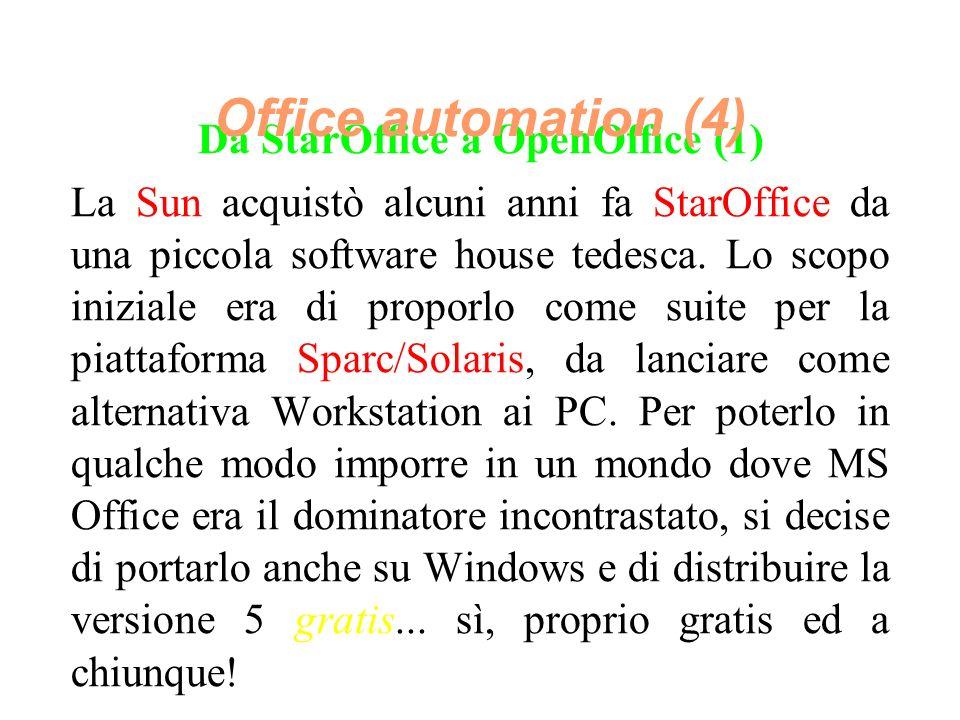 Da StarOffice a OpenOffice (1) La Sun acquistò alcuni anni fa StarOffice da una piccola software house tedesca.
