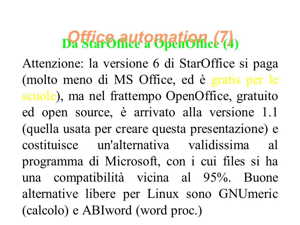 Da StarOffice a OpenOffice (4) Attenzione: la versione 6 di StarOffice si paga (molto meno di MS Office, ed è gratis per le scuole), ma nel frattempo OpenOffice, gratuito ed open source, è arrivato alla versione 1.1 (quella usata per creare questa presentazione) e costituisce un alternativa validissima al programma di Microsoft, con i cui files si ha una compatibilità vicina al 95%.