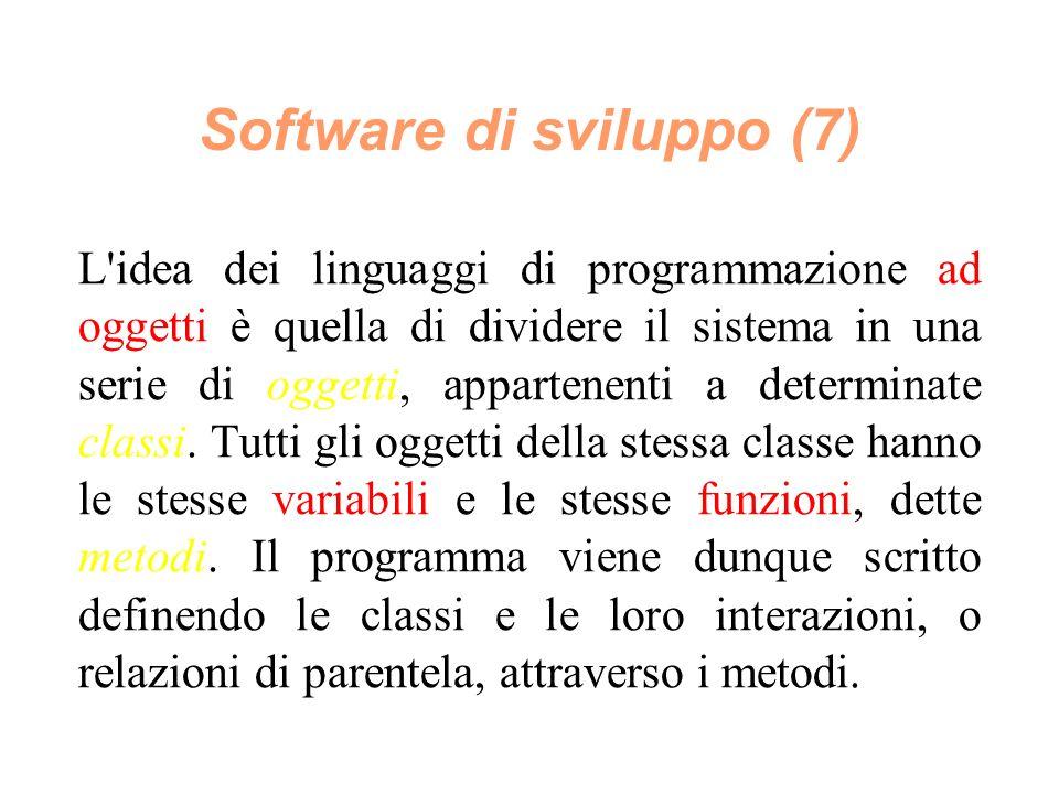 Software di sviluppo (7) L idea dei linguaggi di programmazione ad oggetti è quella di dividere il sistema in una serie di oggetti, appartenenti a determinate classi.