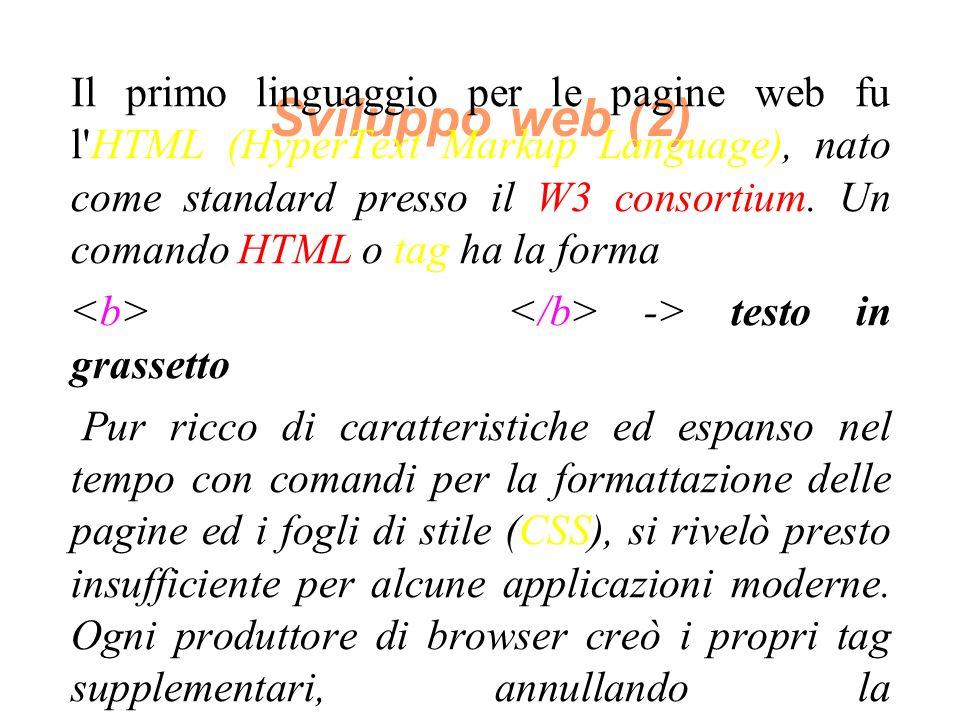 Sviluppo web (2) Il primo linguaggio per le pagine web fu l HTML (HyperText Markup Language), nato come standard presso il W3 consortium.