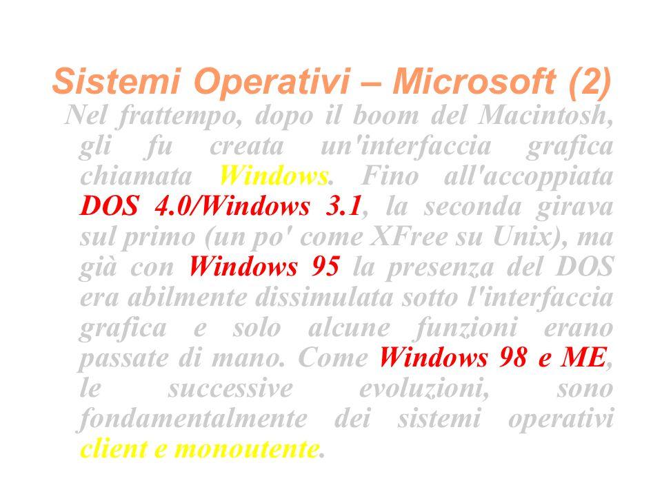 Sistemi Operativi – Microsoft (2) Nel frattempo, dopo il boom del Macintosh, gli fu creata un interfaccia grafica chiamata Windows.