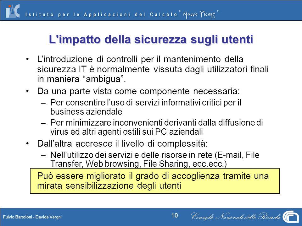 Fulvio Bartoloni - Davide Vergni 10 L'impatto della sicurezza sugli utenti Lintroduzione di controlli per il mantenimento della sicurezza IT è normalm