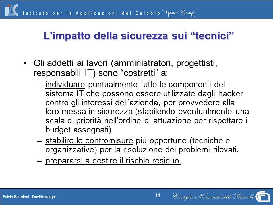 Fulvio Bartoloni - Davide Vergni 11 L'impatto della sicurezza sui tecnici Gli addetti ai lavori (amministratori, progettisti, responsabili IT) sono co