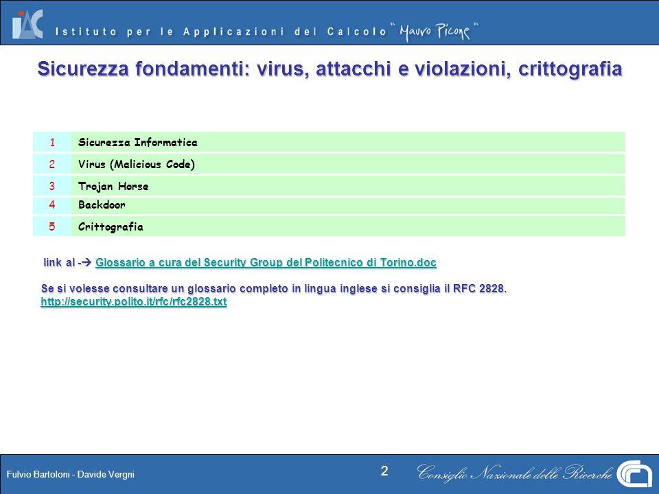 Fulvio Bartoloni - Davide Vergni 2 Sicurezza fondamenti: virus, attacchi e violazioni, crittografia Crittografia5 Backdoor4 Trojan Horse3 Virus (Malic