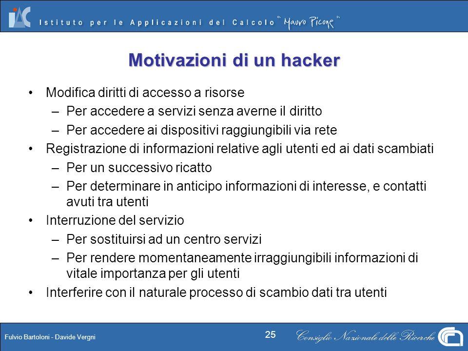 Fulvio Bartoloni - Davide Vergni 25 Motivazioni di un hacker Modifica diritti di accesso a risorse –Per accedere a servizi senza averne il diritto –Pe