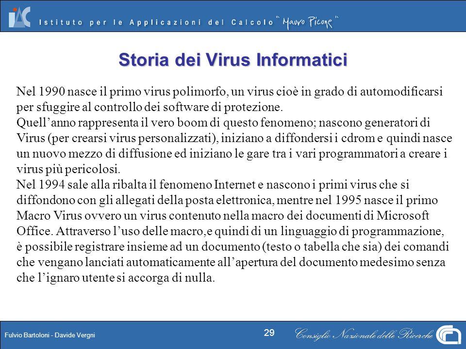 Fulvio Bartoloni - Davide Vergni 29 Nel 1990 nasce il primo virus polimorfo, un virus cioè in grado di automodificarsi per sfuggire al controllo dei s