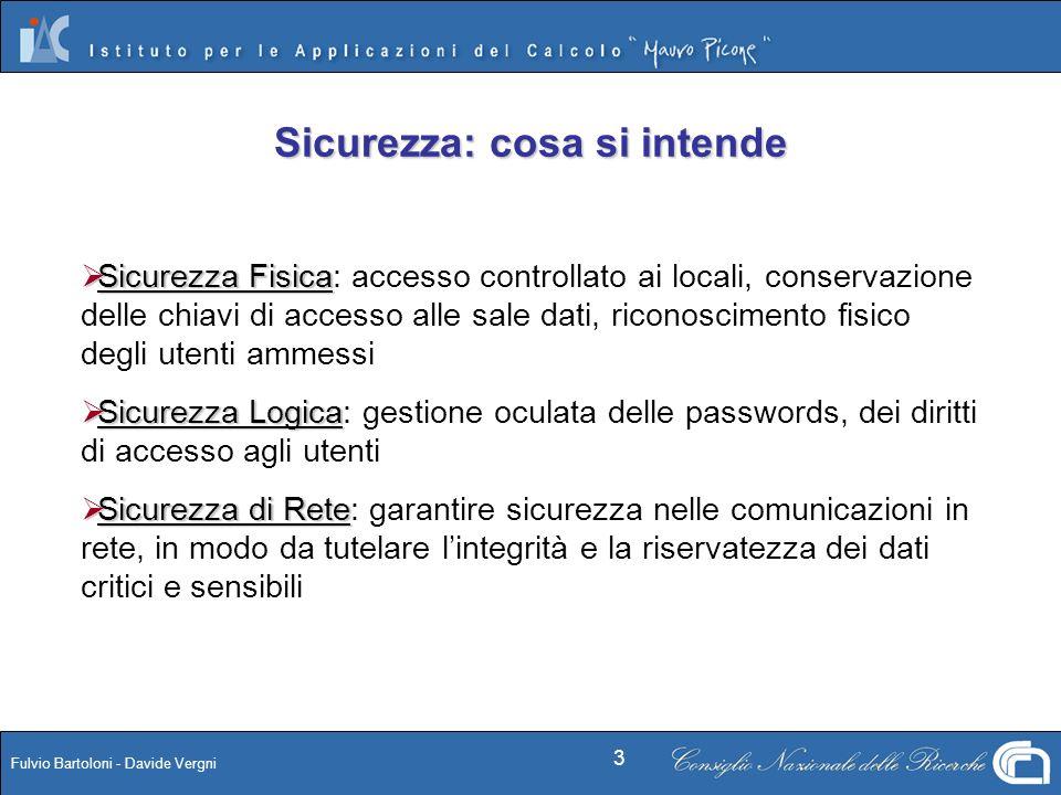 Fulvio Bartoloni - Davide Vergni 3 Sicurezza: cosa si intende Sicurezza Fisica Sicurezza Fisica: accesso controllato ai locali, conservazione delle ch