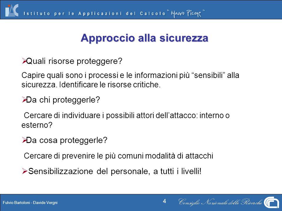 Fulvio Bartoloni - Davide Vergni 4 Approccio alla sicurezza Quali risorse proteggere? Capire quali sono i processi e le informazioni più sensibili all