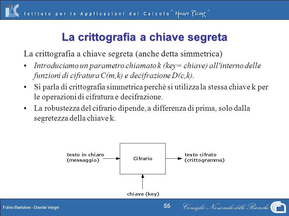 Fulvio Bartoloni - Davide Vergni 55 La crittografia a chiave segreta (anche detta simmetrica) Introduciamo un parametro chiamato k (key= chiave) all'i