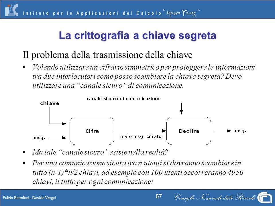 Fulvio Bartoloni - Davide Vergni 57 Il problema della trasmissione della chiave Volendo utilizzare un cifrario simmetrico per proteggere le informazio