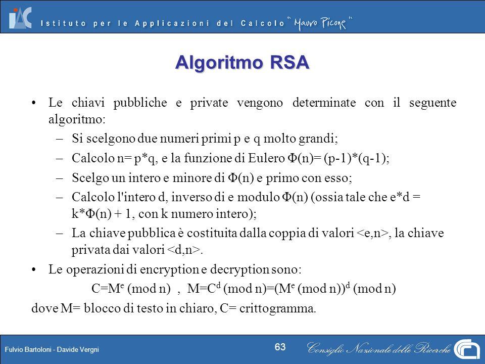 Fulvio Bartoloni - Davide Vergni 63 Le chiavi pubbliche e private vengono determinate con il seguente algoritmo: – –Si scelgono due numeri primi p e q
