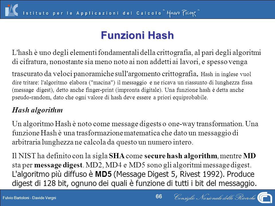 Fulvio Bartoloni - Davide Vergni 66 L'hash è uno degli elementi fondamentali della crittografia, al pari degli algoritmi di cifratura, nonostante sia