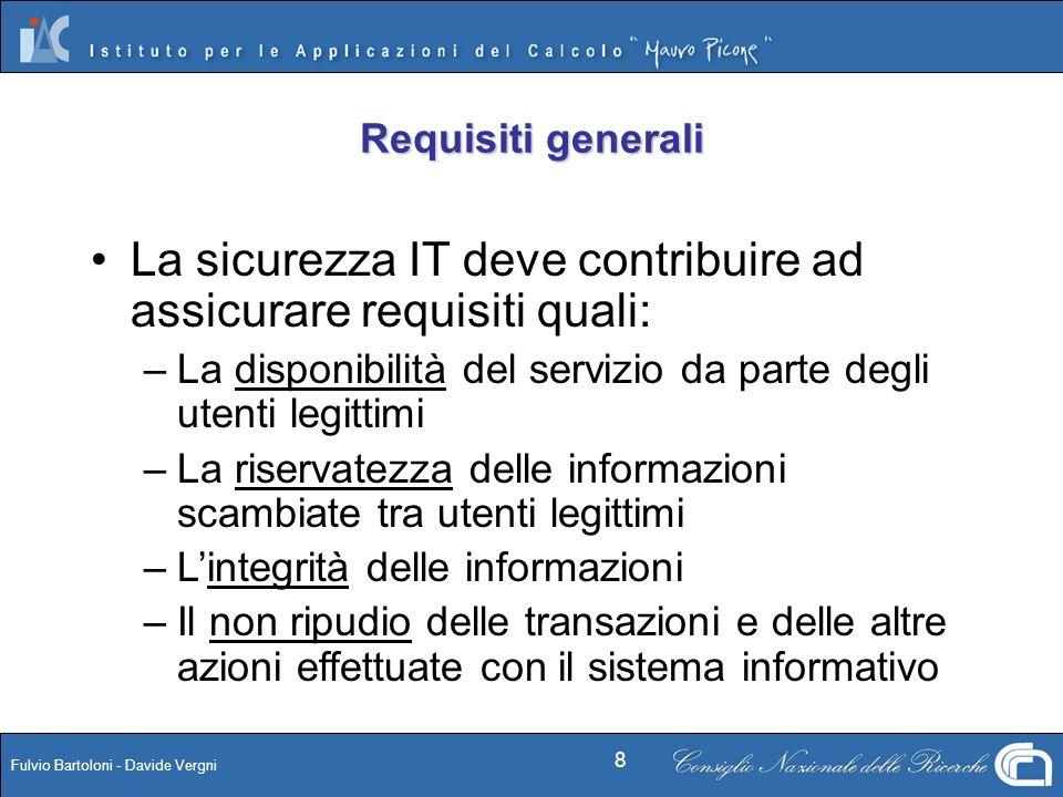 Fulvio Bartoloni - Davide Vergni 8 Requisiti generali La sicurezza IT deve contribuire ad assicurare requisiti quali: – –La disponibilità del servizio