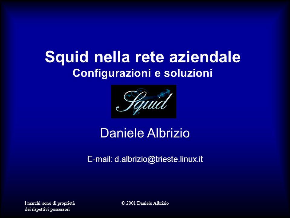 I marchi sono di proprietà dei rispettivi possessori © 2001 Daniele Albrizio Squid nella rete aziendale Configurazioni e soluzioni Daniele Albrizio E-mail: d.albrizio@trieste.linux.it