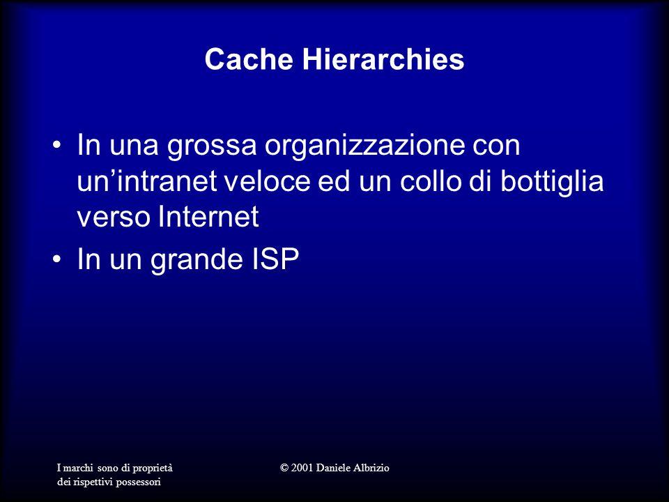 I marchi sono di proprietà dei rispettivi possessori © 2001 Daniele Albrizio Cache Hierarchies In una grossa organizzazione con unintranet veloce ed un collo di bottiglia verso Internet In un grande ISP