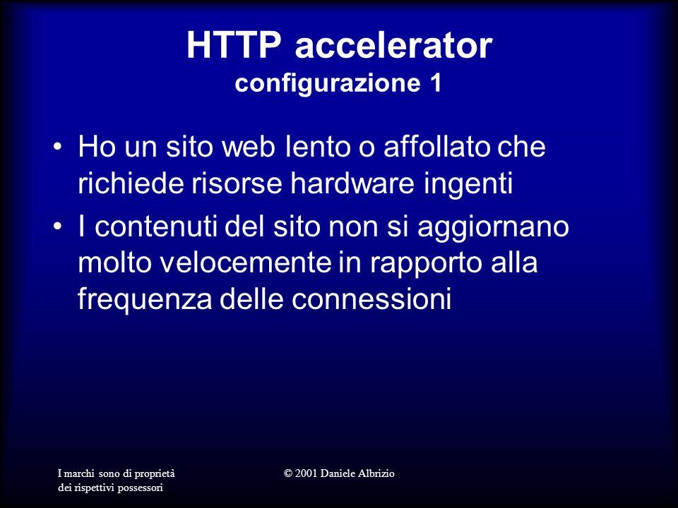 I marchi sono di proprietà dei rispettivi possessori © 2001 Daniele Albrizio HTTP accelerator configurazione 1 Ho un sito web lento o affollato che richiede risorse hardware ingenti I contenuti del sito non si aggiornano molto velocemente in rapporto alla frequenza delle connessioni