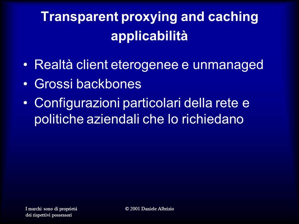I marchi sono di proprietà dei rispettivi possessori © 2001 Daniele Albrizio Transparent proxying and caching applicabilità Realtà client eterogenee e