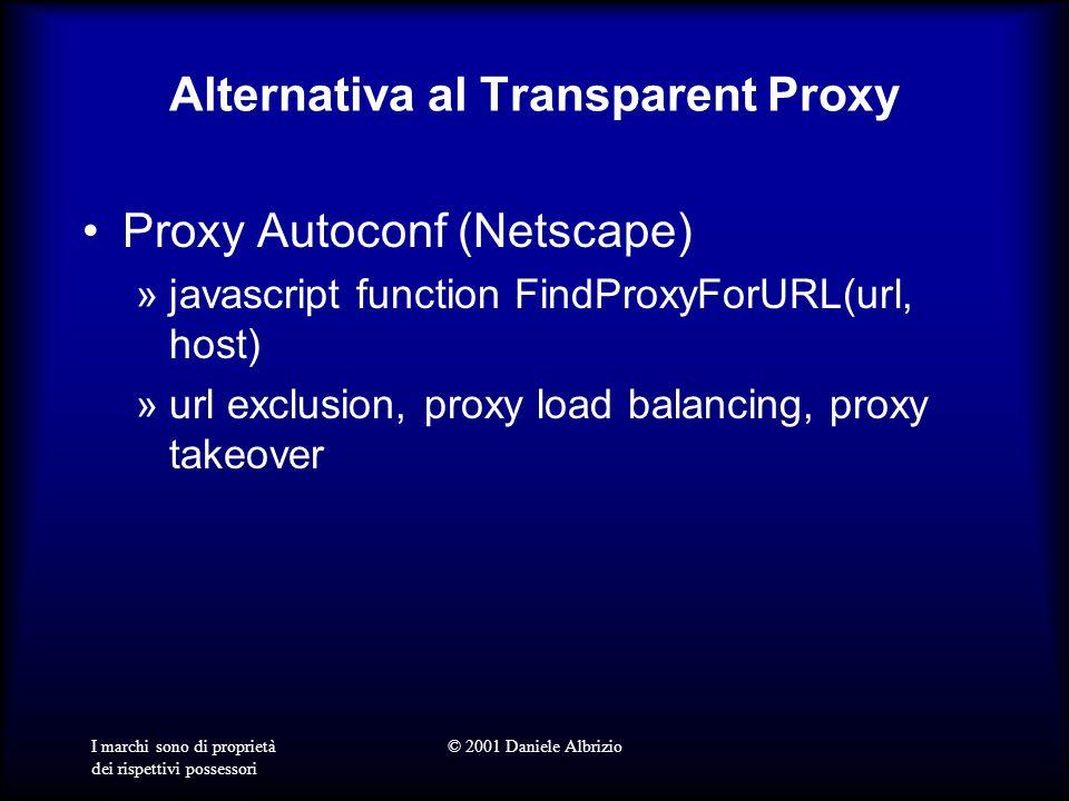 I marchi sono di proprietà dei rispettivi possessori © 2001 Daniele Albrizio Alternativa al Transparent Proxy Proxy Autoconf (Netscape) »javascript function FindProxyForURL(url, host) »url exclusion, proxy load balancing, proxy takeover