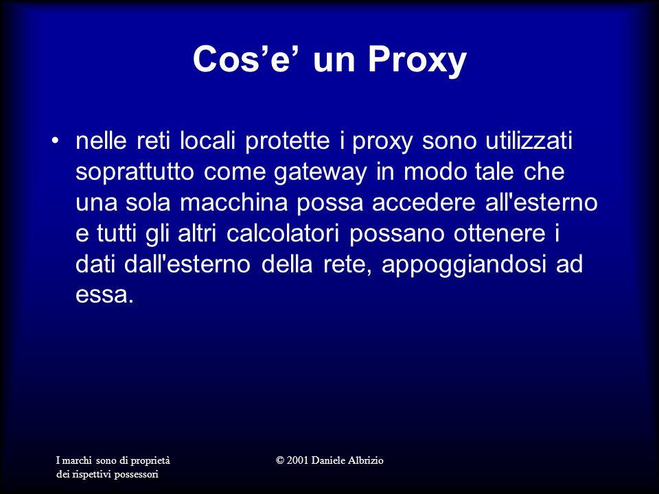 I marchi sono di proprietà dei rispettivi possessori © 2001 Daniele Albrizio Cose un Proxy nelle reti locali protette i proxy sono utilizzati soprattu