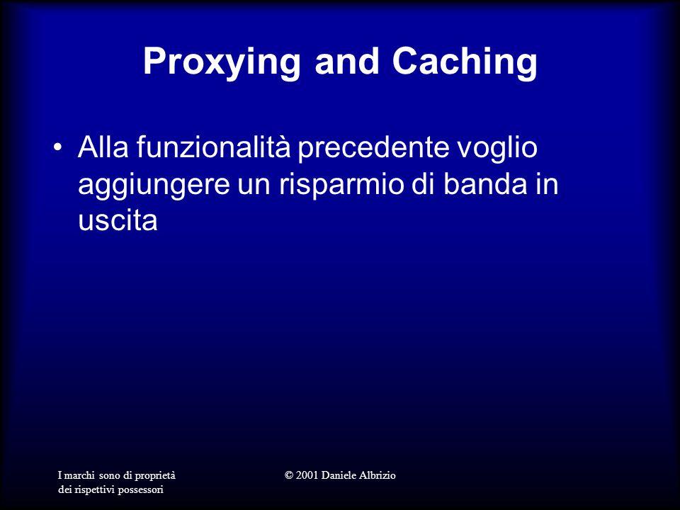 I marchi sono di proprietà dei rispettivi possessori © 2001 Daniele Albrizio Proxying and Caching Alla funzionalità precedente voglio aggiungere un risparmio di banda in uscita