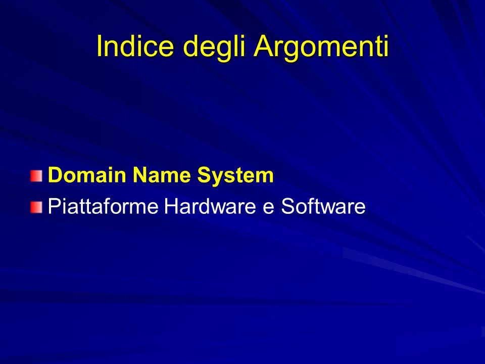 Indice degli Argomenti Domain Name System Piattaforme Hardware e Software